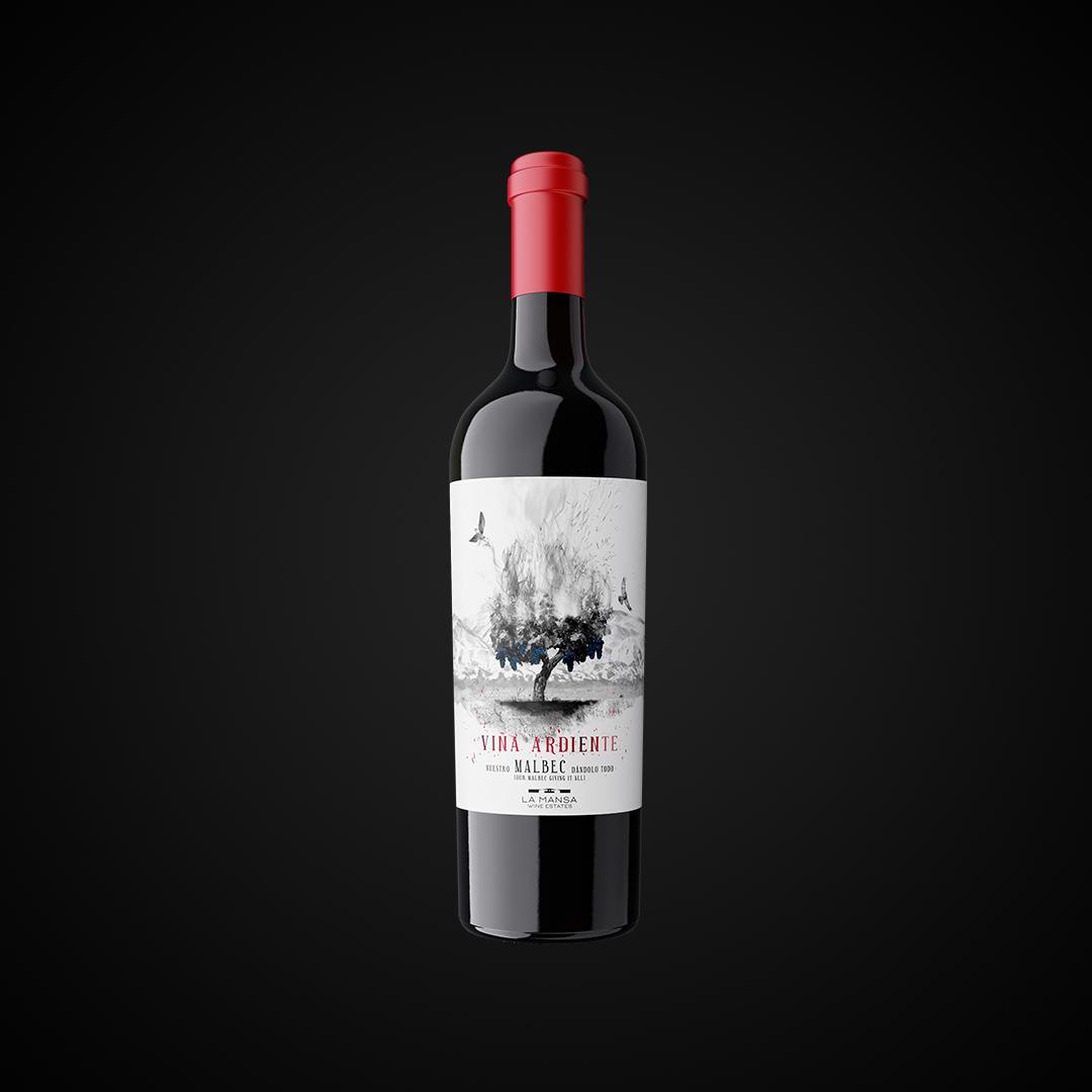 Botella viña ardiente